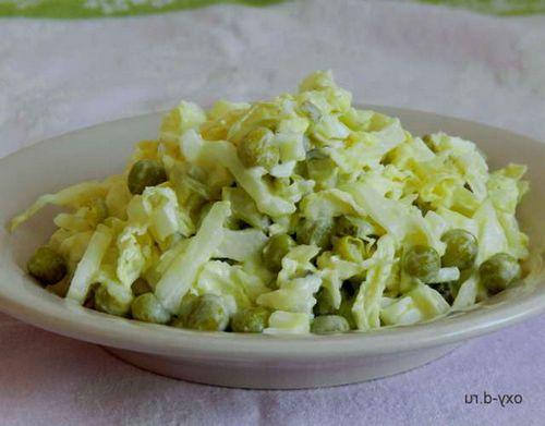 Салат с зелёным горошком консервированным