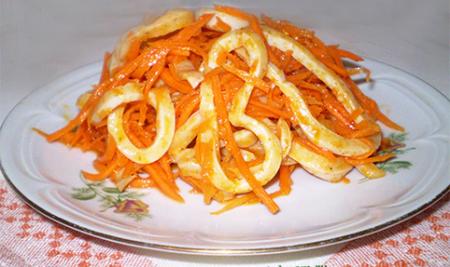 салат с кальмарами рецепт с морковью
