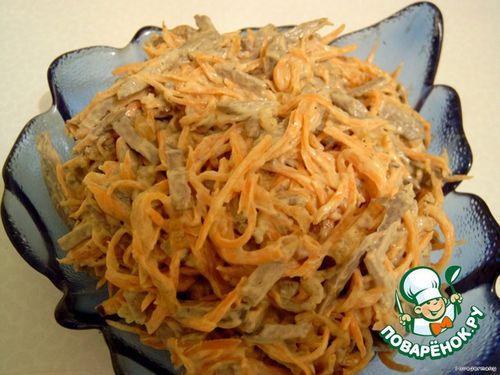 рецепт салата из печени с кириешков
